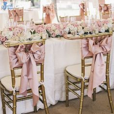 Bilderesultat for chiavari chairs with sash Chair Sashes, Chiavari Chairs, Bridesmaid Dresses, Wedding Dresses, Textiles, Satin, Rose Gold, Instagram, Table Decorations