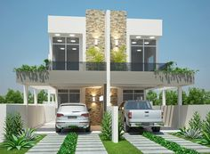 Projetar Casas   Projeto de sobrado geminado, terreno de 10m de frente, com 3 suítes e varanda gourmet. - Cód 35