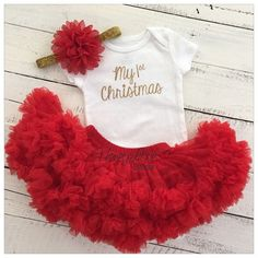 1st Christmas Set GOLD or SILVER glitter shirt red flower headband bow red pettiskirt tutu skirt infant baby girl First Santa Outfit