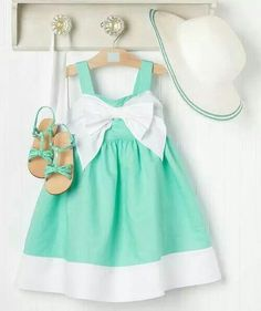 Beautiful Girl's Mint Dress, hat, and sandals