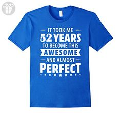 Mens 52 Years To Become Awesome Tee-Shirt 52nd Birthday Gift Idea XL Royal Blue - Birthday shirts (*Amazon Partner-Link)