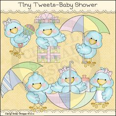 Tiny Tweets Baby Shower 1 - Whimsical Clip Art by Cheryl Seslar