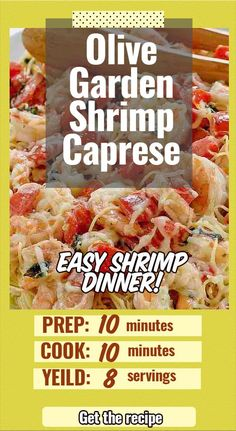 Copycat Olive Garden Shrimp Caprese is the perfect light pasta dinner. Made with fresh shrimp, tomatoes, mozzarella, and basil, this is the perfect light dinner you are going to love. Restaurant Recipes, Seafood Recipes, Pasta Recipes, Cooking Recipes, Crockpot Recipes, Chicken Recipes, Healthy Meat Recipes, Vegetarian Recipes, Vegetarian Diets