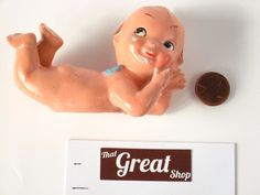 """Vintage Porcelain Kewpie Doll with wings 4"""" Marked """"Japan"""" #Kewpie"""