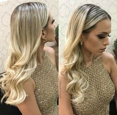 Best Long Wavy Hairstyles, Gold shaded hair matches with the dress. Go with loose wavy hairstyle, and you won't regret it. Long Curly Hair, Curly Hair Styles, Wedding Hair And Makeup, Hair Makeup, Simple Prom Hair, Haircuts For Long Hair, Stylish Hair, Trendy Hair, Bride Hairstyles