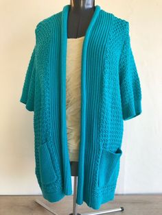 Additions By Chico's Women's Shrug Open Front Sweater Size 2 Turquoise Blue SS Cardigans For Women, Jackets For Women, Clothes For Women, Women's Clothes, Roll Neck Sweater, Shrug Sweater, Turquoise Cardigan, Black And White Cardigans, Two Piece Outfit