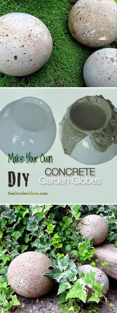 DIY Concrete Garden Globes - Make your own concrete garden globes using old glass light shades! Garden, ideas. pation, backyard, diy, vegetable, flower, herb, container, pallet, cottage, secret, outdoor, cool, for beginners, indoor, balcony, creative, country, countyard, veggie, cheap, design, lanscape, decking, home, decoration, beautifull, terrace, plants, house.