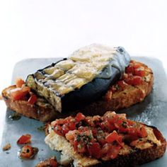 The components of these sandwiches are relatively straightforward, but the results are a revelation. And with gooey melted cheese, tender slabs of eggplant, and a bright tomato-parsley salsa, they're a wonderful main course option for vegetarians and meat eaters alike.