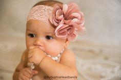 Light Pink Flower Headband, Baby Flower Headband, Big Flower Headband, Free Shipping, Photography Prop, Rose Headband, Lace Headband