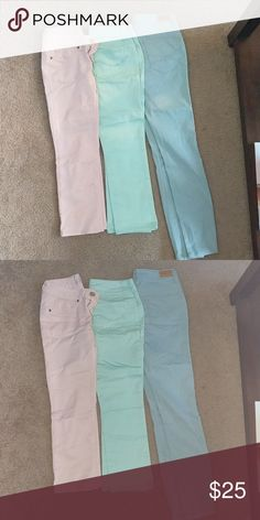 Colored skinny jegging bundle Pink, light green and blue jeans like new. The pink and light green are capris length and are So brand size 1. The blue is from aeropostle and highwaisted size 0 Jeans Skinny