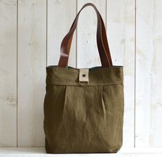ROT PROOF French Messenger bag / Laptop bag tote moss green linen Bag with brown leather double straps. $119.74, via Etsy.