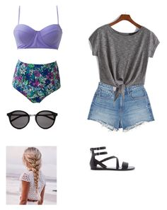 """""""Beach day"""" by emmahunt-1 on Polyvore featuring T By Alexander Wang, Forever 21, Yves Saint Laurent, women's clothing, women, female, woman, misses and juniors"""