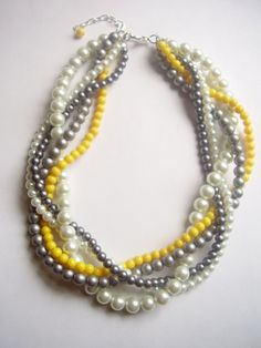 The Noelle Necklace  Pearl white gray silver by WildStoneJewels