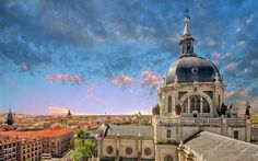 Download wallpapers Almudena Cathedral, Madrid, evening, summer, Spain, Cathedral of Saint Mary