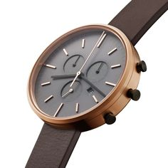 Uniform Wares M42 Chronograph watch in PVD rose gold with brown nappa leather strap