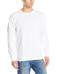 Jerzees Men's Adult Long Sleeve Tee, White, Small