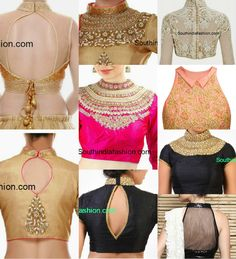 Top trending 26 type of blouse back high neck back sleeves manufacturer from kolkata top 26 types of blouse neck designs 15 types of blouse back neck designs Cly High … Blouse Designs High Neck, High Neck Blouse, Sari Blouse Designs, Blouse Styles, Choli Designs, Sari Bluse, Saree Jackets, Indie Mode, Saree Blouse Patterns