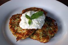 Kolokithokeftedes (Greek Zucchini Fritters) with Tzatziki