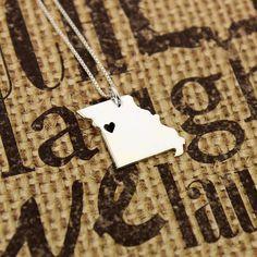 Missouri necklace sterling silver Missouri state by Silversmith925, $37.00