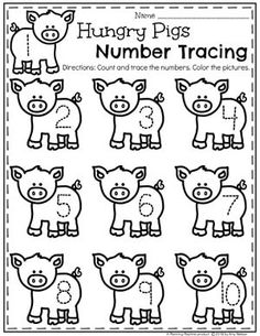 Farm Animal Number Tracing Worksheets for Preschool #preschool #farmtheme #springpreschool #preschoolworksheets #preschoolfun #springworksheets
