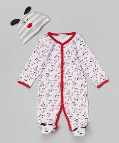 Love this White & Red Dog Snowflake Footie & Beanie - Infant by Quiltex on #zulily! #zulilyfinds