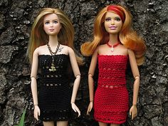 A dress and top pattern for Barbie worked from the top down and in the round. - Free on Ravelry