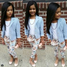 Fashion kids cute outfit new Ideas Little Girl Outfits, Cute Outfits For Kids, Little Girl Fashion, Cute Little Girls, Toddler Outfits, Fashion Kids, Toddler Fashion, Kids Mode, Girl Clothing