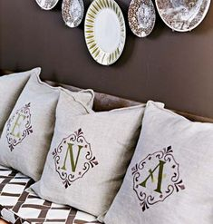 Stamped monograms on linen pillows - quick, easy, and stylish!