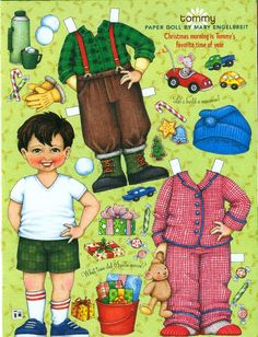 Uncut Paper Doll by Mary Engelbreit Christmas Morning with Tommy