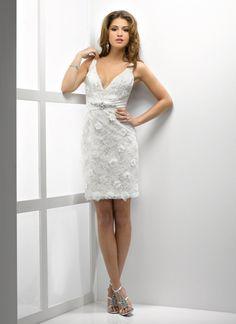 Sheath V-neck Beaded Ruched Waistband Flower Applique Lace Tea-Length Wedding Dress-wt0022, $189.95