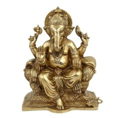 Statue Ganesha Sculpture Art Hindu Décor Spiritual; Brass; 7.5 X 4.25 X 9.25 Inches