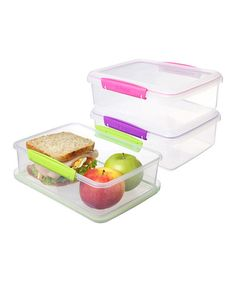 Another great find on #zulily! Pink, Purple & Green Large To-Go Container Set #zulilyfinds