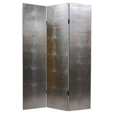 3-panel room divider in silver croc-embossed faux leather.    Product: Room dividerConstruction Material: Kiln ...
