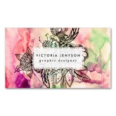 Bohemian handdrawn abstract watercolor paint business cards template