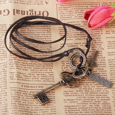 Stylish Unisex Vintage Real Leather Necklace with Metal Royal Key Design Pendant in Necklaces   DressLily.com
