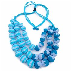 Upcycled jewelry Natural necklace with blue beads of paper mache Art necklace…