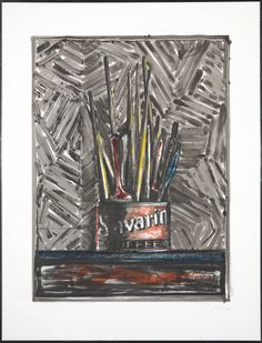 #JasperJohns Savari, 1982 Monotype over lithograph 39 3/4 × 29 7/8 inches. from an edition of 4 varying impressions.  Published by U.L.A.E.  In 1960 Johns created two sculptures, both entitled 'Painted Bronze'. One was a pair of Ballantine Ale cans and the other a Savarin coffee tin full of used brushes. . The Savarin image recurs as a metaphor for Jasper Johns himself.
