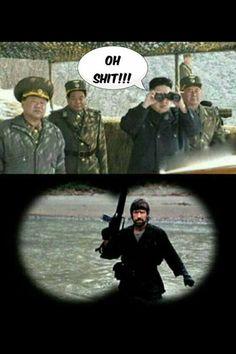 Funny Pictures - Oh shit! - Kim Jong Un meets Chuck Norris Memes Humor, Funny Jokes, Hilarious, Chuck Norris Memes, Military Humor, Military Personnel, North Korea, Funny Moments, I Laughed