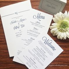 Wedding Reception Stationery Cards / Menu Welcome Itinerary Program /  Custom Design by papercakedesigns via @Etsy