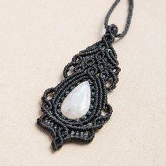 Macrame Moon Stone Pendant, Necklace, Gemstone, Vintage, Jewelry,  Blue, White, Lady, Gift, Elegant, Charm, Boho, Unique, Rococo