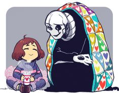 Frisk and Gaster - gif