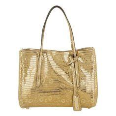 Abro Tasche – Lizzard Vintage Handbag Leather Gold – in gold – Henkeltasche für Damen