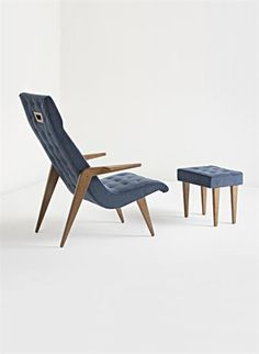 GIO PONTI Extremely rare chair with ottoman, 1950s  Walnut, suede. Chair: 98 cm. (38 1/2 in.) high; ottoman: 37 x 41 x 31 cm. (14 1/2 x 16 1/8 x 12 1/4 in.) Produced by Fratelli Marelli, Italy