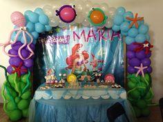 The little mermaid Party balloons decorations, decoración con globos fiesta marina la sirenita decoración con globos