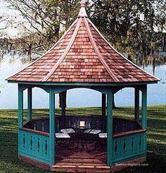 This gazebo plan is easy to assemble and a great place to enjoy with friends Grill Gazebo, Hot Tub Gazebo, Backyard Gazebo, Outdoor Pergola, Outdoor Spaces, Large Gazebo, Raised Bed Garden Design, Gazebo Plans, Cedar Shingles