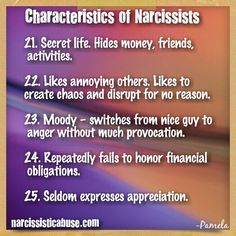 "Characteristics of Narcissists... my ex to the ""T"". He stole so much money from our homes to fund his Affairs."