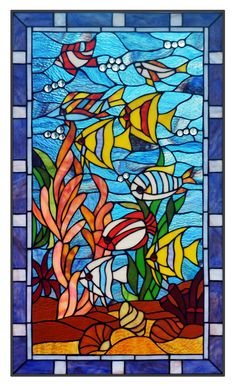 """20"""" x 34"""" Fish Under The Sea Tiffany Style Stained Glass Window Panel 