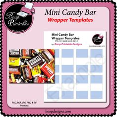 Mini Sized Candy bar TEMPLATE Wraps by Boop Printable Designs  digital paper craft designs #printables #cu #boopdesigns
