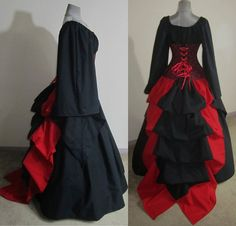 Custom - Vampire Queen of Bloody Hearts - Red and Black Top, Skirt, Under-bust corset and Long Bustle