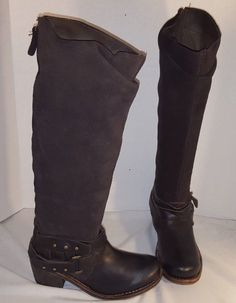 NEW ANTHROPOLOGIE GEE WAWA BLACK ON BROWN  SUEDE & LEATHER WESTERN  BOOTS US…